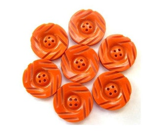 7 BUTTONS, antique Vintage plastic rare 18mm, orange, thick with ornament