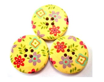 6 Wood buttons, 30mm, violet, red , blue flowers ornaments,  for scrapbppking, jewelry, crafts