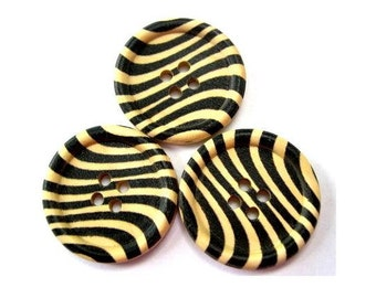 6 Wood buttons,  black ornament on  natural wood color, 30mm