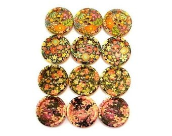 12 Wood buttons, 4 kinds, colorful flowers ornaments, 30mm