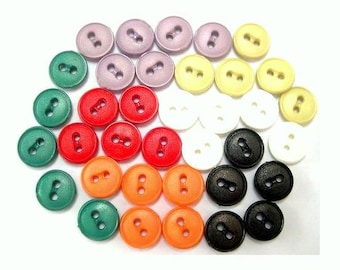 35 Vintage plastic buttons, set of 7 colors, can be use as beads for button jewelry, 11mm