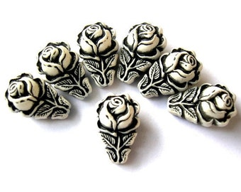 10 Beads, rose flower ornament, etched, vintage plastic, black and white, 18mm