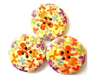 6 Wood buttons, colorful flowers ornament, 30mm, proper for button jewelry, crafts, scrapbooking
