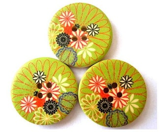 6 Buttons, wood, 30mm, light green with flowers picture, for crafts, button jewelry