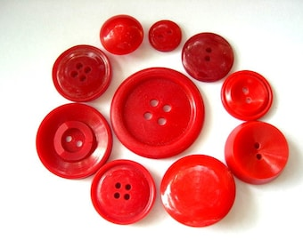 100 Buttons, high quality red buttons 10 types, antique and vintage plastic buttons