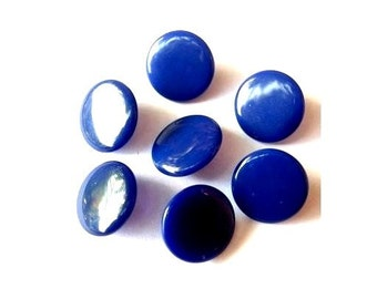 7  Buttons, blue,  antique vintage glass buttons, can be use as beads, 15mm, suitable  for children