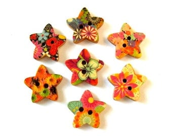 42 Wood buttons, stars, wood, 7 kinds, for button jewelry, scrapbooking, crafts