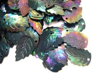 20gr Vintage black sequins leaf shape
