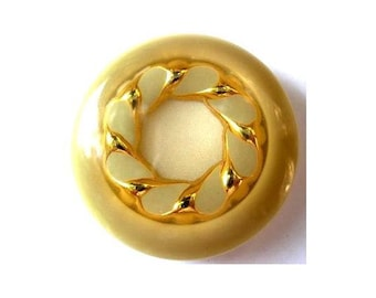 2 Buttons, vintage, plastic, cream with gold color ornament, 34mm, high quality