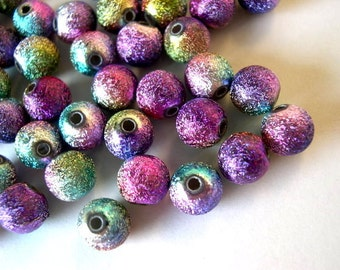 30 Beads, multicolor, 8mm, plastic with glitters