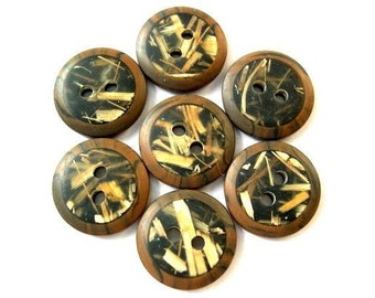 7 Buttons, vintage buttons, brown, black,  inside straw, 15mm