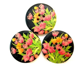 6 Buttons, wood, 30mm, black with ornage and pink flowers, for crafts, button jewelry