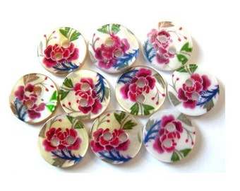10 Shell buttons floral ornament in red blue green design 11.5mm for button jewelry. sewing