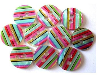10 Shell buttons colorfull stripes design 11.5mm