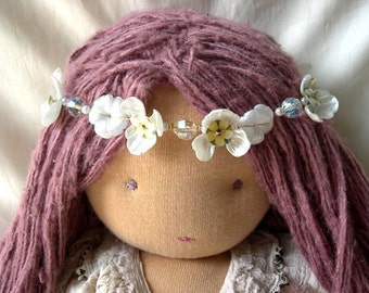 Headband necklace made of vintage flowers and beads combine with shell buttons and vintage velvet