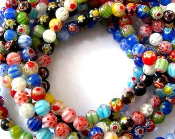 Millefiori Glass beads, 6mm, about 60 beads, 1 strand