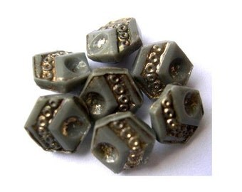 10 Buttons, antique, vintage, smoke grey glass with gold color trim, hexagon shape 8mm