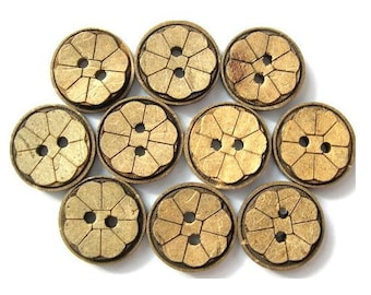 10 Buttons, coconut shell buttons flower ornament,15mm, great for children