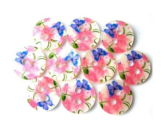 10 Shell buttons, butterflies and flowers ornament , printed, 11.5mm
