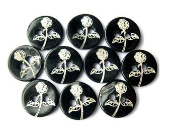 10 Shell buttons white rose on black, 11.5mm, unique
