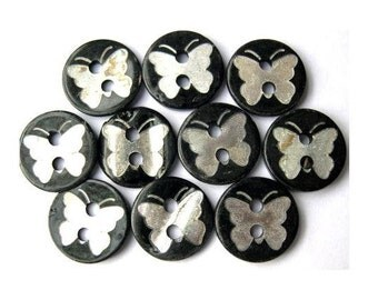10 Shell buttons white butterfly on black, 11.5mm, unique