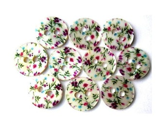 Shell buttons, 10 buttons, flowers ornament, printed, for sewing, button jewelry, crafts 11.5mm