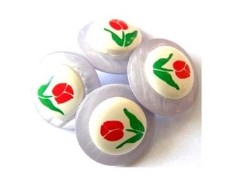 10 buttons, vintage, plastic, flowers, for button jewelry, 15mm