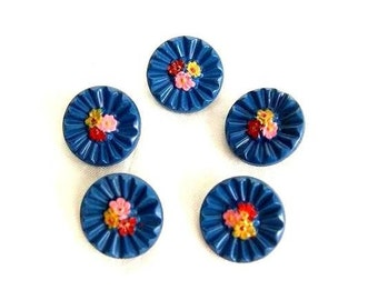 6 Buttons, antique vintage glass hand painted flowers, light blue, 18mm, proper for button jewelry