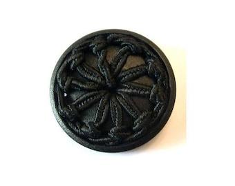 Antique vintage button handmade of threads on plastic base, black, unique rare button, 36mm