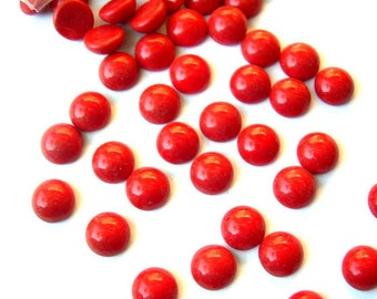 10 Vintage glass cabochons red, 9mm