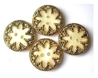 6 Buttons, vintage, flower,  metal with plastic, for button jewelry, 20mm