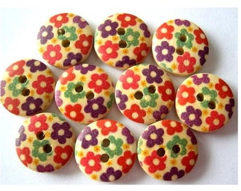 7 Buttons, wood, wooden, flowers ornament, 15mm, for button jewelry