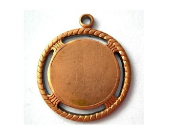 Vintage copper pendant cameo setting round 22mm metal stamping