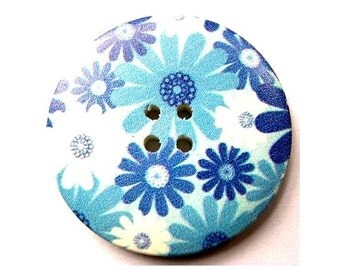3 Buttons, wood, 40mm, blue flowers picture, for crafts, button jewelry