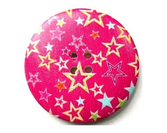 3 Buttons, wood, 40mm, fuschia with stars picture, for crafts, button jewelry