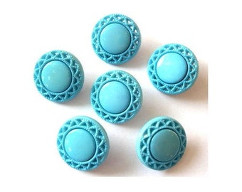 6 Flower buttons vintage, 21mm, blue