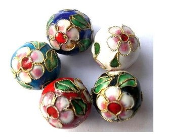 5 Beads, cloisonne enamel, 5 colors 16mm