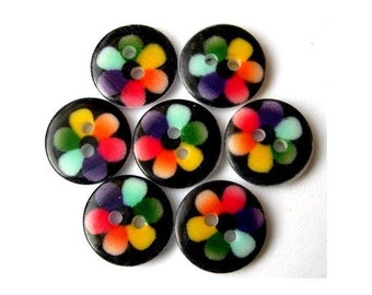 10 Plastic buttons colorful flower on black new buttons 13mm