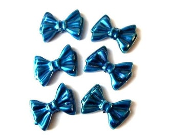 8 Vintage bows charms blue lucite 19mm, RARE