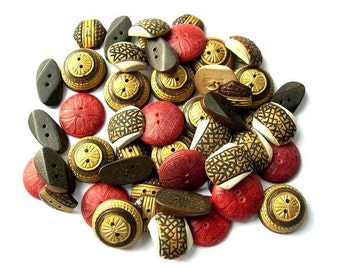 50 Antique vintage wood buttons, 5 kinds, assorted shapes and shades,unique package