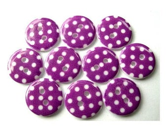 15 Plastic buttons violet with white dots 15mm