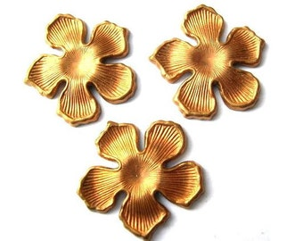 3 flowers copper metal stamping findings 23mm