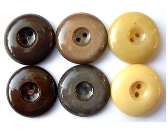 36 Vintage buttons high quality earth colors, 6 colors, 15mm