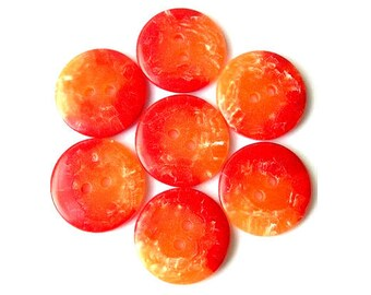 6 Vintage plastic buttons, red orange and white, great as beads for button jewelry, high quality beautiful buttons