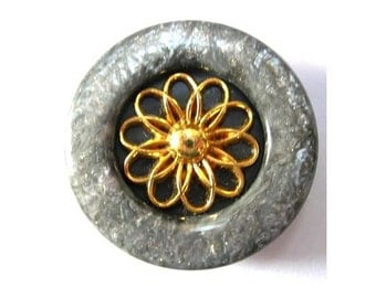 6 Vintage buttons plastic with metal gold color flower 31mm, smoke grey with glitters