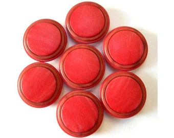 6 Vintage buttons red to bordeaux plastic, 22mm