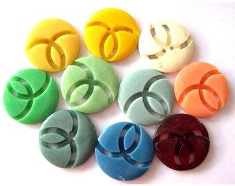 10 Buttons, antique  vintage, 10 colors,  plastic, 20mm, unique design