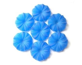 30 Flowers beads vintage 16mm frosted blue plastic lucite