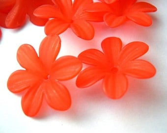 15 Flowers beads vintage frosted red lucite 24mm