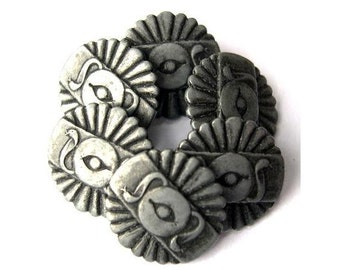 6 vintage metal buttons 20mm silver color symbol of antique Egypt , eye and snakes